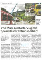 thumbnail of (2021-09-22) Von Mure zerstörter Zug mit Speziallaster abtransportiert
